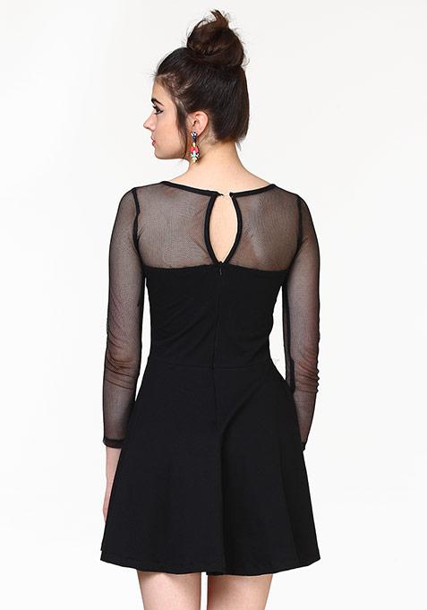 Get Meshed Skater Dress - Black