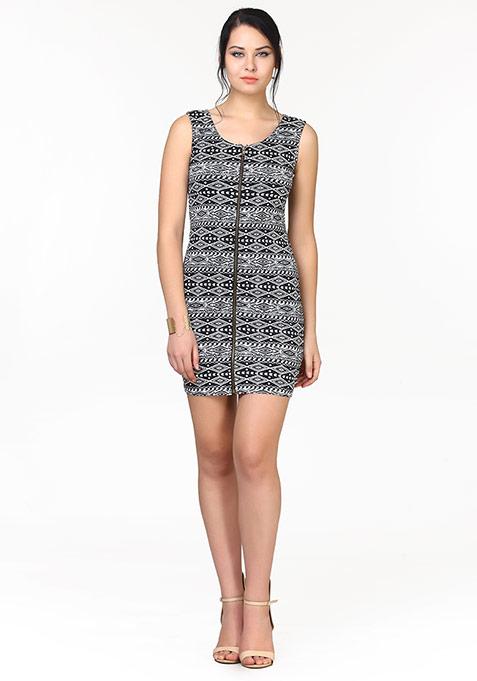 Zipped Up Bodycon Dress - Aztec