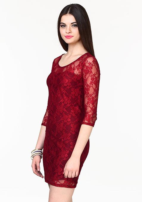 Wine Lace Bodycon Dress
