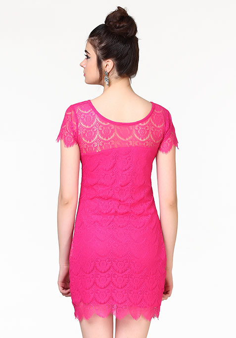 Lady Up Lace Dress - Pink