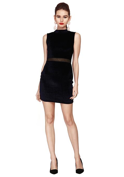 Luxe Velvet Bodycon Dress - Blue