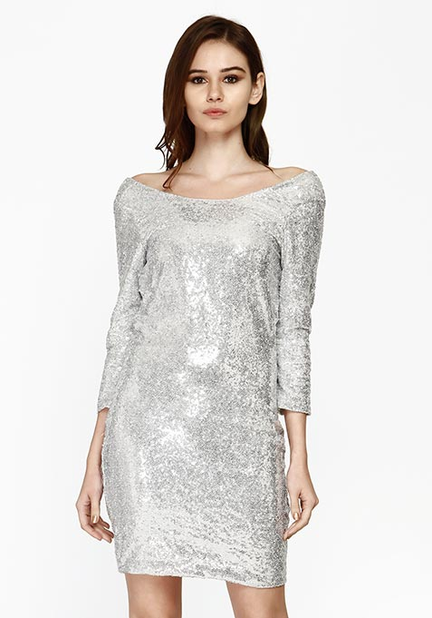 Night Calling Cowl Dress - Silver