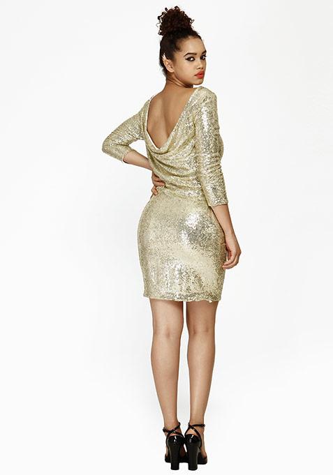 Night Calling Cowl Dress - Champagne
