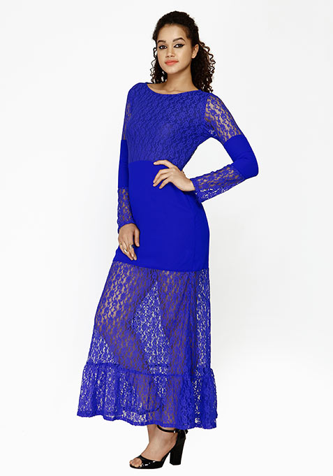 Fluted Lace Maxi Dress - Blue