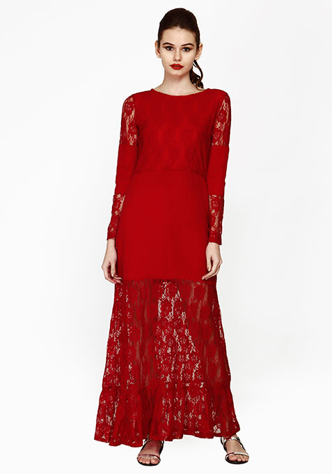Fluted Lace Maxi Dress - Red