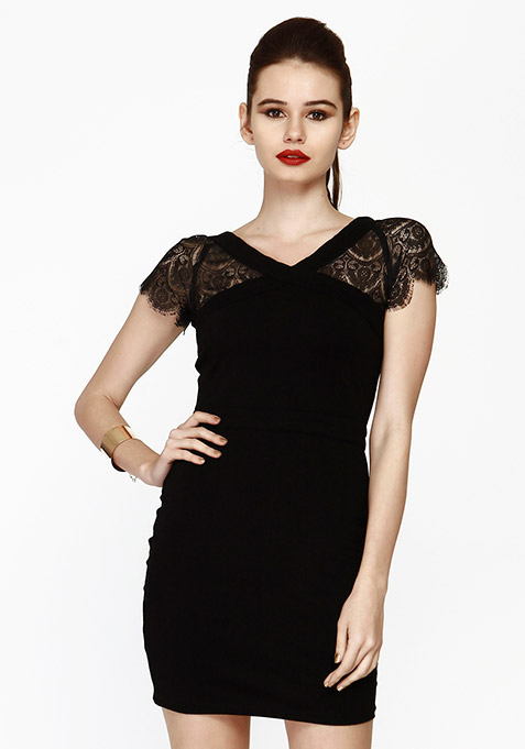 Lace Enshrouded Bodycon Dress - Black