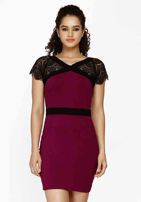 Lace Enshrouded Bodycon Dress - Purple