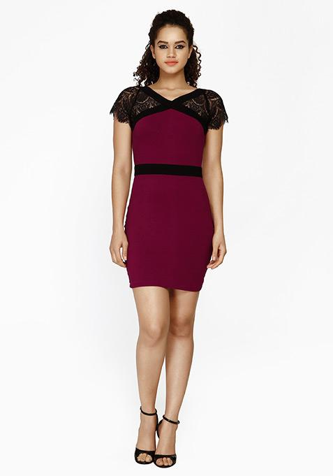 Lace Enshrouded Bodycon Dress - Purple