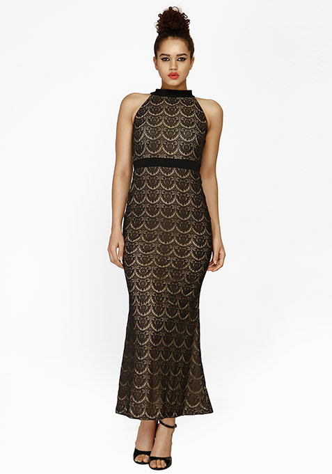 Lace Fervor Maxi Dress - Black