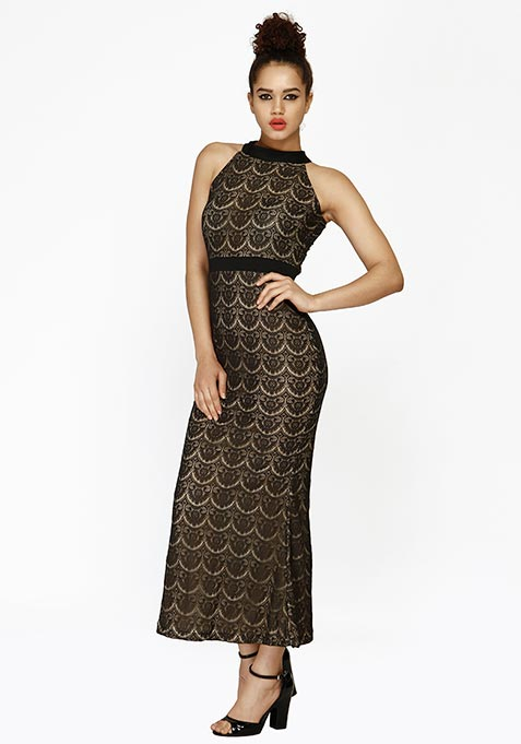 Lace Fervor Maxi Dress - Black