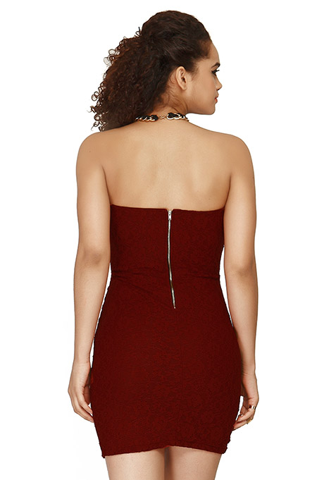 Lace Envelop Bodycon Dress - Red