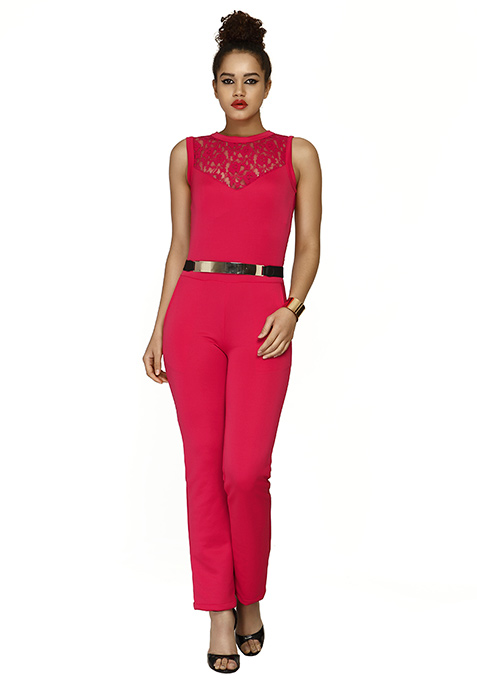 Fierce Pink Scuba Jumpsuit