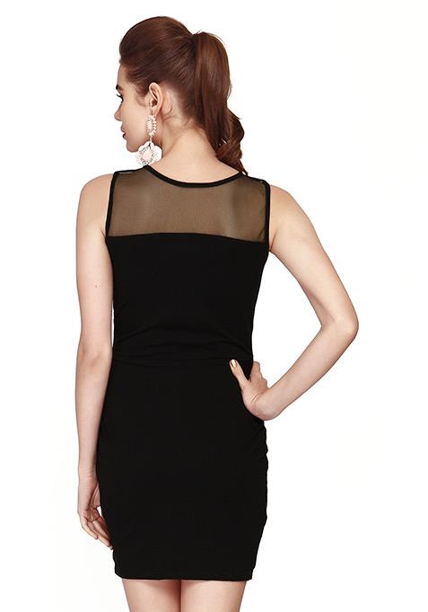 Mesh Glaze Bodycon Dress - Black