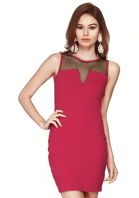 Mesh Glaze Bodycon Dress - Pink