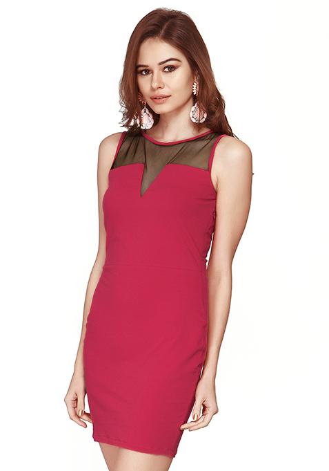 Mesh Glaze Bodycon Dress - Pink