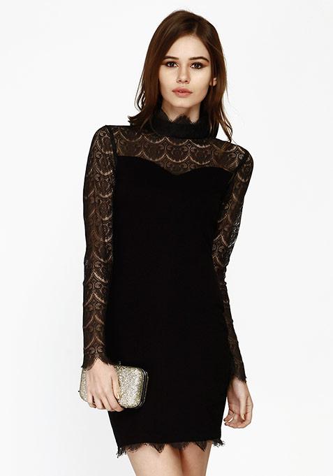 Lace Flair Bodycon Dress - Black