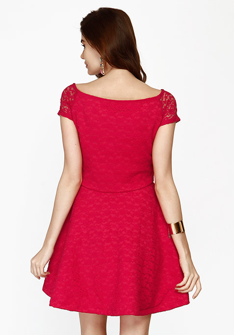 Sweetheart Lace Skater Dress - Pink