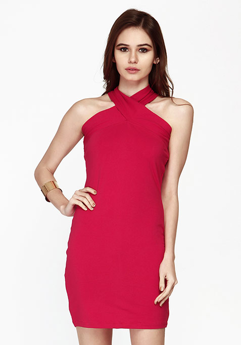 Spunky Cross Bodycon Dress - Pink