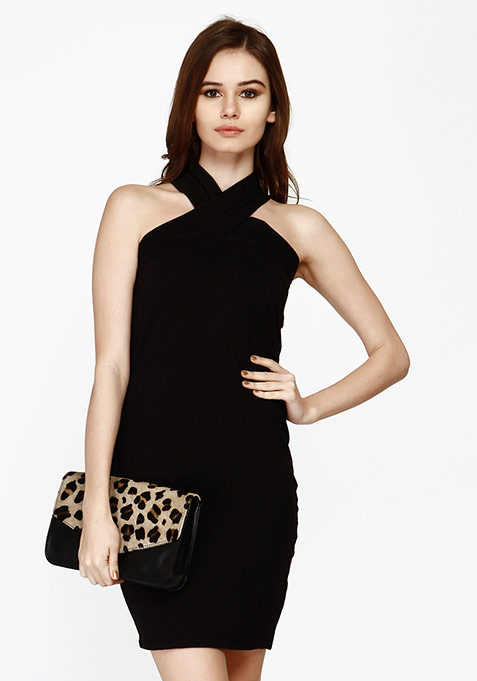 Spunky Cross Bodycon Dress - Black