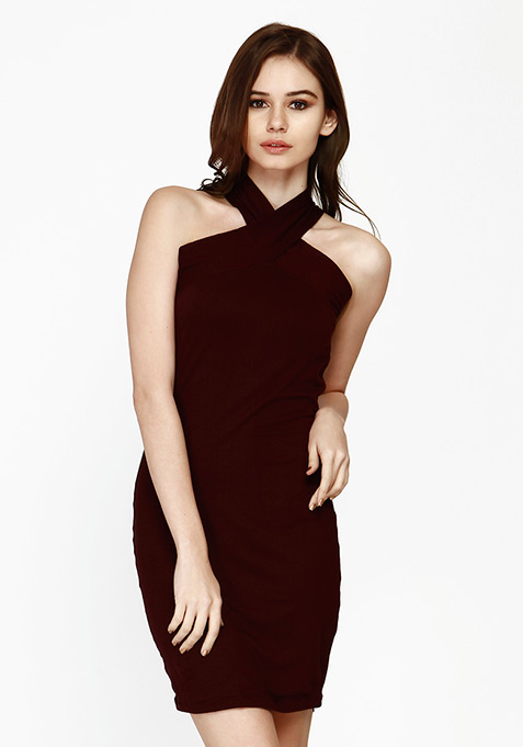 Spunky Cross Bodycon Dress - Oxblood