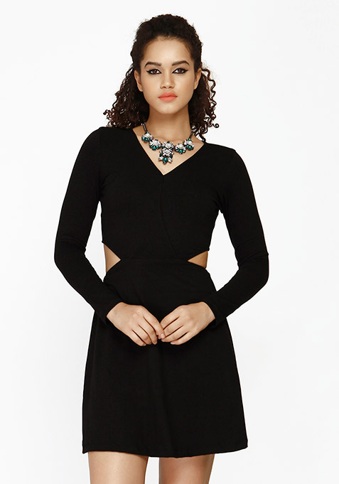 Flirty Cut Skater Dress - Black