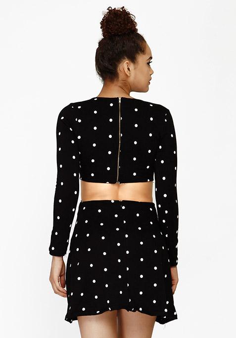 Flirty Cut Skater Dress - Polka