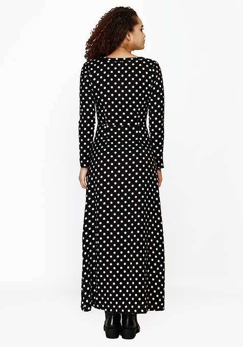 Button Away Maxi Dress - Polka