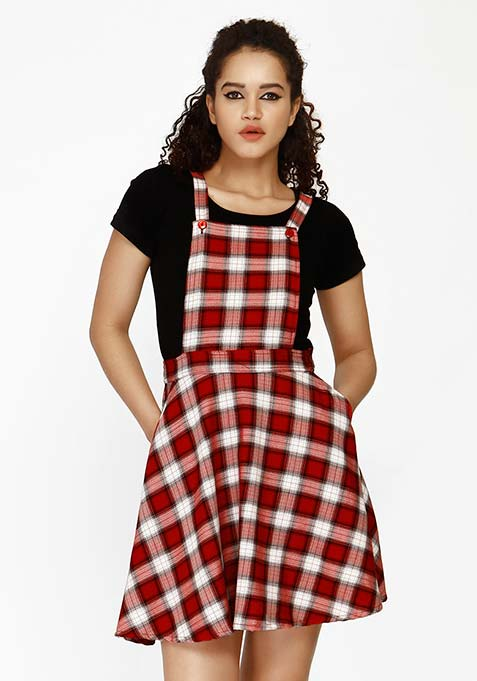 Chic Dungaree Skater Dress - Red
