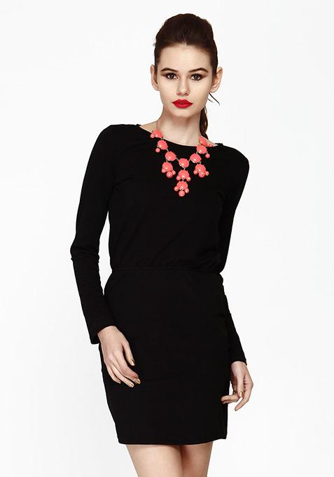 Groovy Drama Bodycon Dress - Black