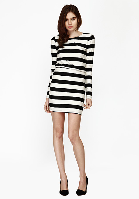 Groovy Drama Bodycon Dress - Stripes