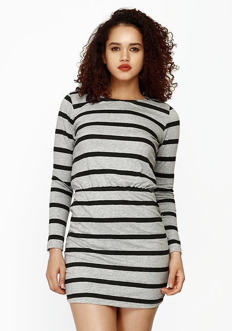Groovy Drama Bodycon Dress - Grey