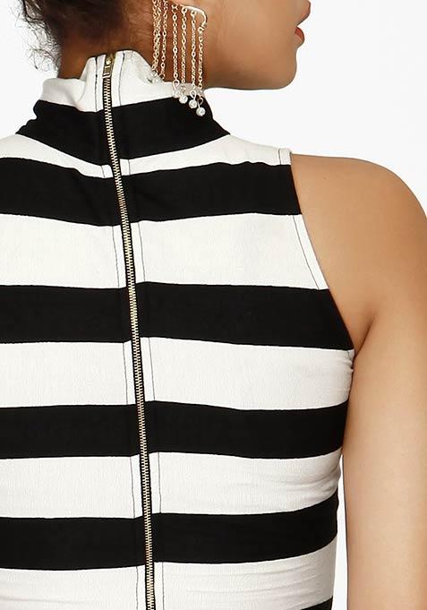 High On Bodycon Dress - Stripes