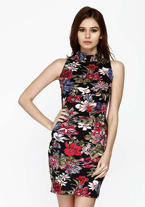 High On Bodycon Dress - Floral