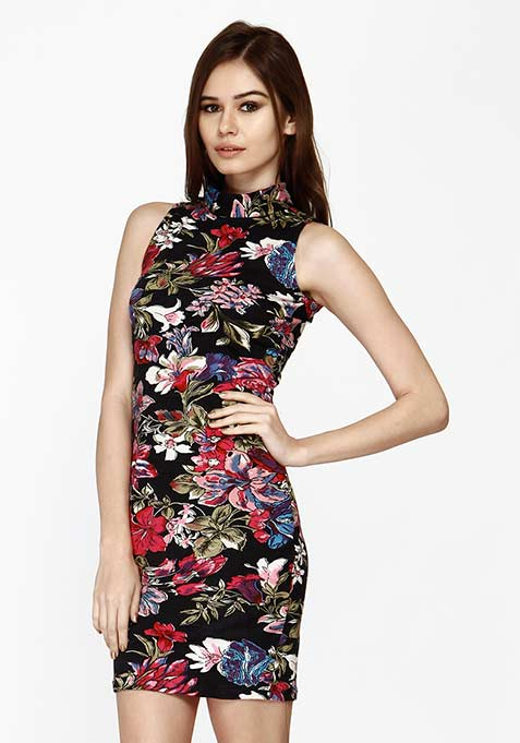 High On Bodycon Dress - Floral