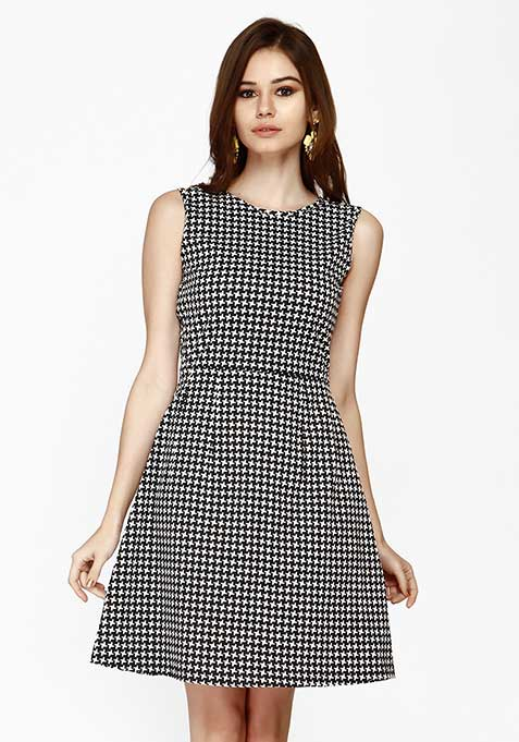 Edgy Houndstooth Skater Dress