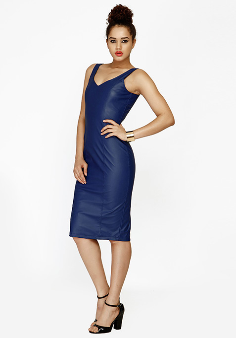 Edgy Leather Midi Dress - Blue
