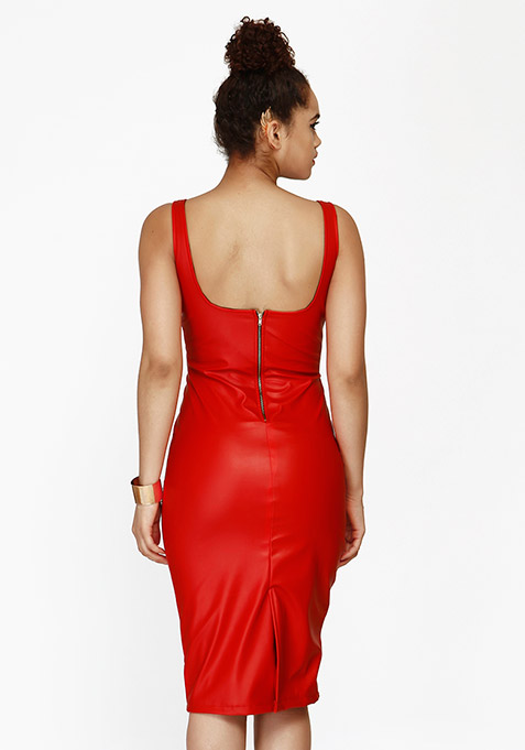 Edgy Leather Midi Dress - Red