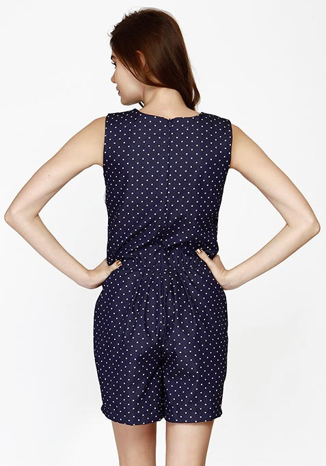 Polka On Denim Playsuit