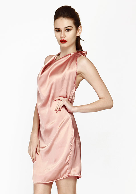 Sweet Cowl Halter Dress - Blush