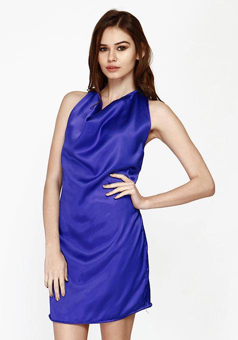 Sweet Cowl Halter Dress - Blue