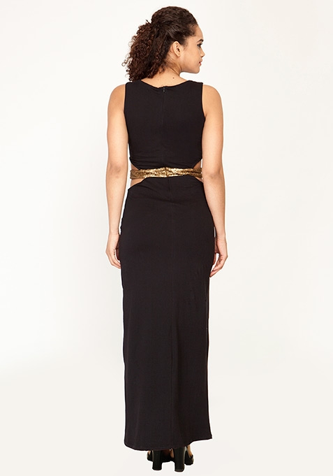 Cut It Out Maxi Dress - Black