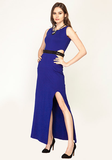 Cut It Out Maxi Dress - Blue
