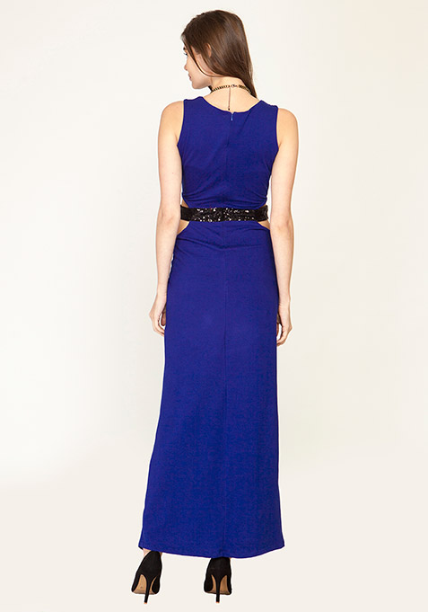 Cut It Out Maxi Dress - Blue