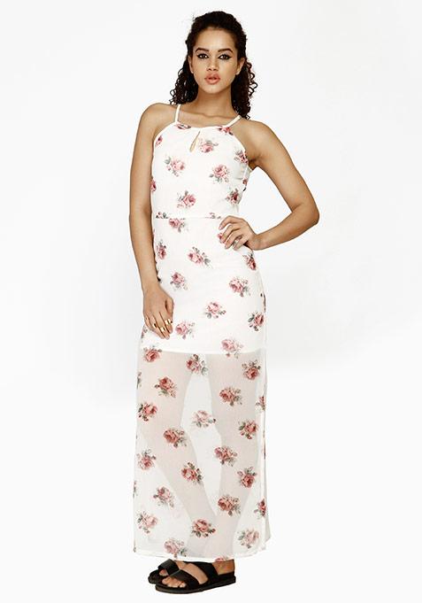 Rosy Bloom Maxi Dress