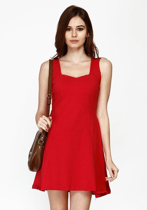 Sunny Days Skater Dress - Red