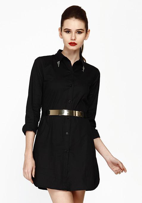 Uber Chic Shirt Dress - Black