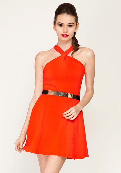 Sassed Up Skater Dress - Orange