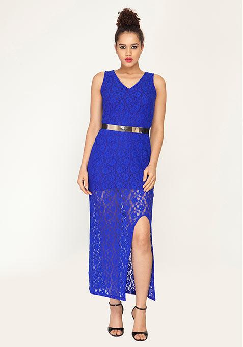 Femme Lace Maxi Dress - Cobalt