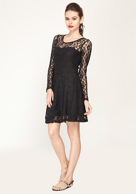 Lace Locked Skater Dress - Black
