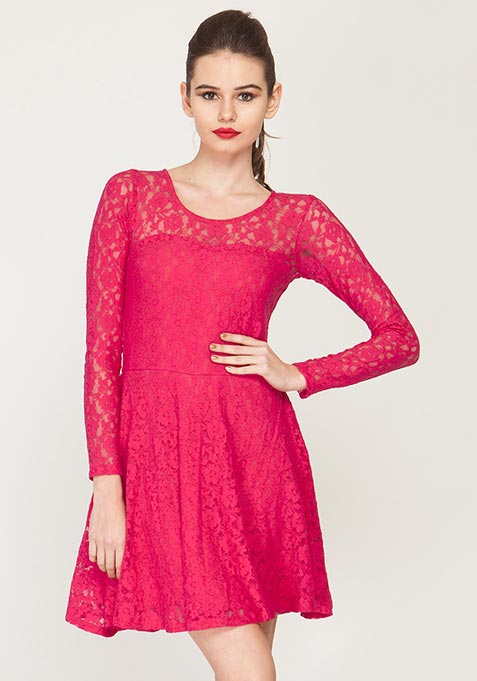 Lace Locked Skater Dress - Pink